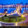 Europe - Hungary - Magyarország - Budapest - Capital City - UNESCO World Heritage Site - Széchenyi Chain Bridge - Széchenyi lánchíd - Suspension bridge that spans River Danube between Buda & Pest, the western and eastern sides of Budapest