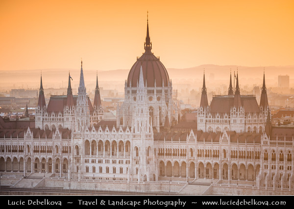 Europe - Hungary - Magyarország - Budapest - Capital City - UNESCO World Heritage Site - Hungarian Parliament Building - Seat of the National Assembly of Hungary on eastern banks of River Danube