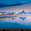 Europe - Hungary - Magyarország - Budapest - Capital City - UNESCO World Heritage Site - Hungarian Parliament Building - Seat of the National Assembly of Hungary on eastern banks of River Danube - Iconic Famous Hungarian Landmark - Dusk - Twilight - Blue Hour - Night
