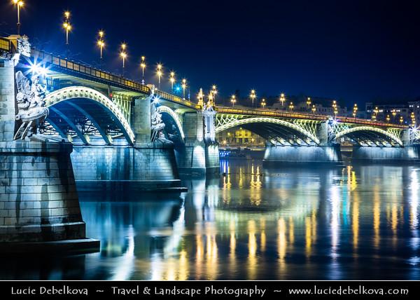 Europe - Hungary - Magyarország - Budapest - Capital City - UNESCO World Heritage Site - Margit Híd - Margaret Bridge - Three-way bridge connecting Buda and Pest across Danube river - Second oldest public bridge in Budapest