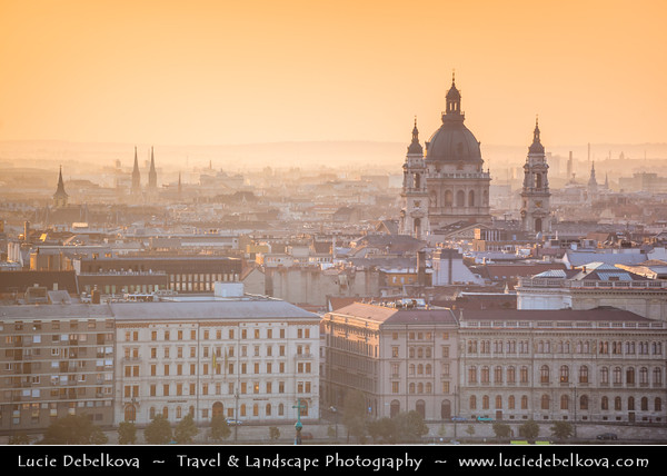 Hungary - Magyarország - Budapest - Capital City - UNESCO World Heritage Site - City View overlooking St Stephen's Basilica - Szent István-bazilika - Roman Catholic basilica & Budapest's largest church which houses Hungary's most sacred relic during Sunrise - Early Morning Warm Light