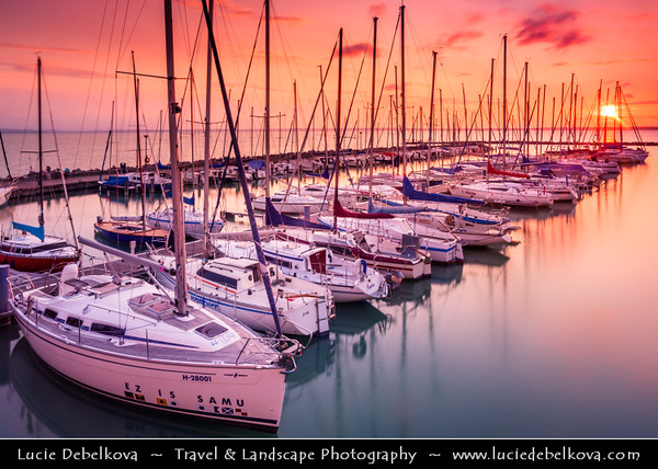 Hungary - Siofok - Lake Balaton - Balcsi - Largest freshwater lake in Central Europe - Boats in Yacht Club during Sunrise Time