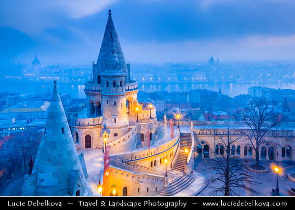 Europe - Hungary - Magyarország - Budapest - Capital City - UNESCO World Heritage Site - Cityscape from Fisherman's Bastion - Halászbástya - Terrace in neo-Gothic & neo-Romanesque style situated on the Buda bank of the Danube, on the Castle hill in Budapest, around Matthias Church