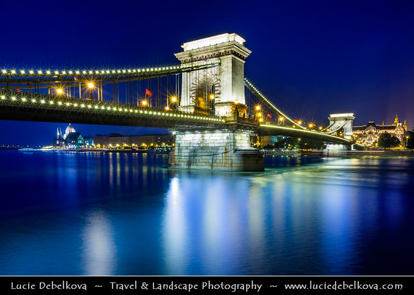Hungary - Magyarország - Budapest - Capital City - Széchenyi Chain Bridge - Lánchíd - Suspension bridge that spans the River Danube between Buda and Pest, the western and eastern sides of Budapest - Twilight - Dusk - Blue Hour