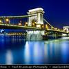 Hungary - Magyarország - Budapest - Capital City - Széchenyi Chain Bridge - Lánchíd - Suspension bridge that spans the River Danube between Buda and Pest, the western and eastern sides of Budapest - Twilight - Dusk - Blue Hour