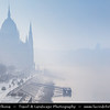 Europe - Hungary - Magyarország - Budapest - Capital City - UNESCO World Heritage Site - Hungarian Parliament Building - Seat of the National Assembly of Hungary on eastern banks of River Danube - Iconic famous Hungarian landmark during magical misty atmosphere