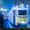 Europe - Hungary - Magyarország - Budapest - Capital City - UNESCO World Heritage Site - Christmas trams along Danube river Decorated with over 30,000 lights to light up festive mood of the city