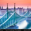 Hungary - Magyarország - Budapest - Capital City - UNESCO World Heritage Site - Szabadság híd - Liberty Bridge connects Buda & Pest across the River Danube - Third southernmost public road bridge in Budapest towards famous Gellért Thermal Baths