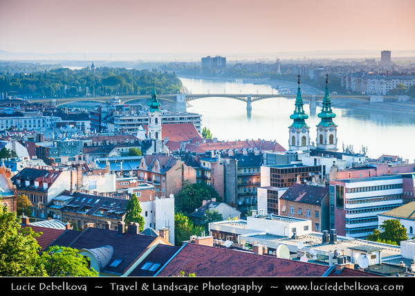 Hungary - Magyarország - Budapest - Capital City - UNESCO World Heritage Site - City View from Fisherman's Bastion - Halászbástya - Terrace in neo-Gothic & neo-Romanesque style situated on the Castle hill on the Buda bank of the Danube