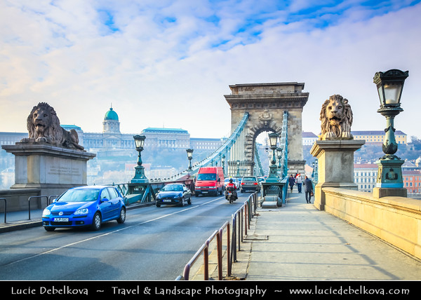 Europe - Hungary - Magyarország - Budapest - Capital City - UNESCO World Heritage Site -  Lion Statue on Széchenyi Chain Bridge - Széchenyi lánchíd - Suspension bridge that spans River Danube between Buda & Pest, the western and eastern sides of Budapest