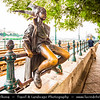 Hungary - Magyarország - Budapest - Capital City - Little Princess - Lovely little statue by László Marton on the Danube Corso