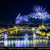 Hungary - Magyarország - Budapest - Capital City - UNESCO World Heritage Site - City View overlooking River Danube between Buda and Pest, the western and eastern sides of Budapest - Spectacular fireworks on Hungary's National Day - St Stephen's Day holiday