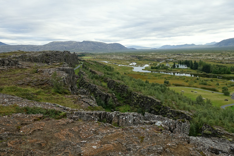 In the North Atlantic, the Mid Atlantic ridge separates the Eurasian and North American Plates. Although the Mid-Atlantic Ridge is mostly an underwater feature, portions of it have enough elevation to extend above sea level. The section of the ridge that includes the island of Iceland is also known as the Reykjanes Ridge which passes through Þingvellir. The 2 plates are separating at a rate of about 1 inch per year.