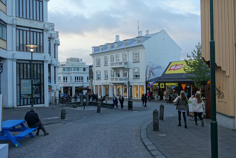 Downtown Reykjavik in the evening.