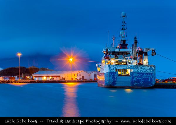 Europe - Iceland - South Eastern Iceland - Höfn - Höfn í Hornafirði - Icelandic fishing town & harbor at Dusk - Twilight - Blue Hour