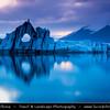 Europe - Iceland - South Eastern Iceland - Jökulsárlón Glacier Lagoon - The largest glacier lagoon at the head of the Breiðamerkurjökull glacier branching from the Vatnajökull - Floating Icebergs