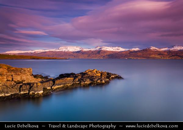 Europe - Iceland - Eastern Iceland - East Fjords - Entrance to Reyðarfjörður at Dramatic Sunrise -