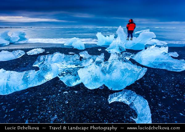 Europe - Iceland - South Eastern Iceland - Jökulsárlón Glacier Lagoon - The largest glacier lagoon at the head of the Breiðamerkurjökull glacier branching from the Vatnajökull - Pieces of Ice on the Black Sand Beach on shores of Atlantic Ocean - Dawn - Twilight - Blue Hour