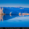 Europe - Iceland - South Eastern Iceland - Jökulsárlón Glacier Lagoon - The largest glacier lagoon at the head of the Breiðamerkurjökull glacier branching from the Vatnajökull - Floating Icebergs - under Northern lights, also known as Aurora Borealis produced by solar wind particles guided by Earth's field lines to the top of the atmosphere