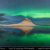 Europe - Iceland - West Iceland -  Snæfellsnes - Grundarfjörður - Kirkjufell during setting Moon & Northern lights, also known as Aurora Borealis produced by solar wind particles guided by Earth's field lines to the top of the atmosphere