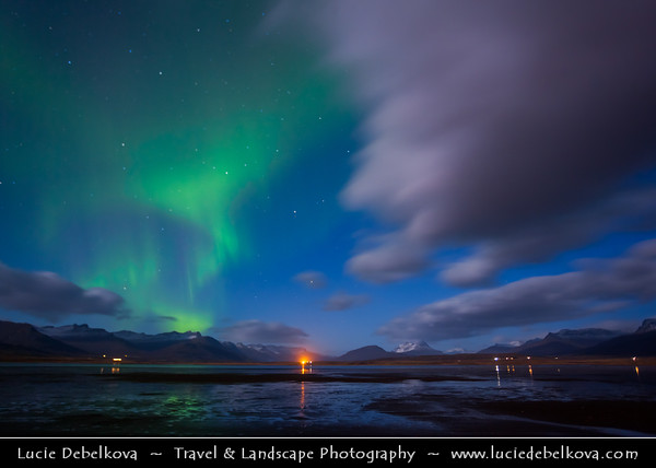 Europe - Iceland - Eastern Iceland - East Fjords - Iceland - Northern Lights - Aurora captured next to fishing village Breiddalsvik and its beautiful surroundings in East Iceland