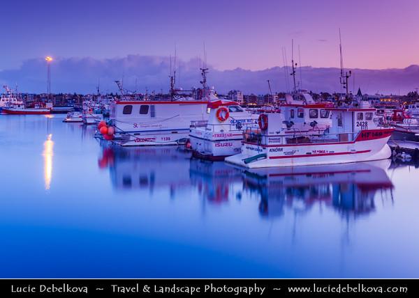 Europe - Iceland - Reykjavik - The Capital City - Boats in Hafnarfjörður Harbour - Dusk - Twilight - Blue Hour