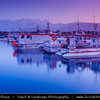 Europe - Iceland - Reykjavik - The Capital City - Boats in Hafnarfjörður Harbour - Dusk - Twilight - Blue Hour
