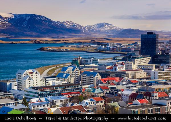 Iceland - Reykjavík - City View from Hallgrimskirkja church's 73-metre high tower which offers stunning vista