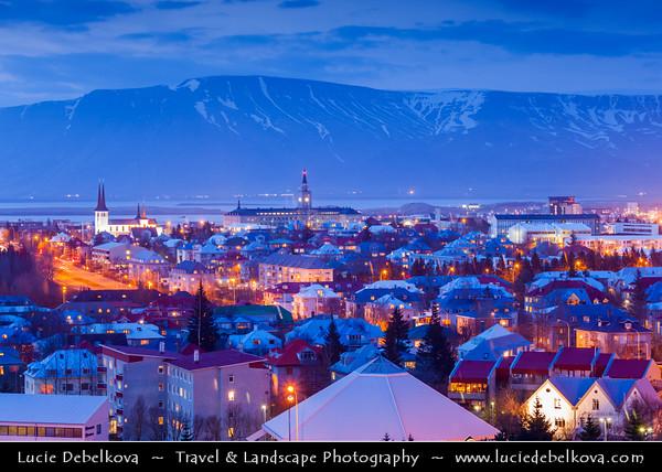 Iceland - Reykjavík - Perlan - View of central Reykjavik from Perlan showing the modern church of Hallgrimskirkja at Dusk - Twilight - Blue Hour