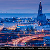 Iceland - Reykjavík - Perlan - View of central Reykjavik from Perlan showing the modern church of Hallgrimskirkja at Dusk - Twilight - Blue Hour
