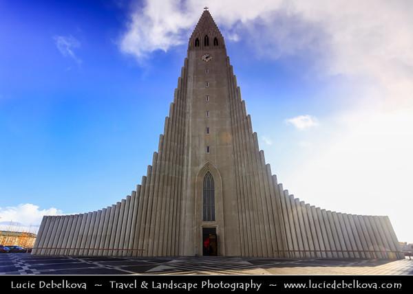Europe - Iceland - Reykjavik - The Capital City - Hallgrimskirkja - The iconic Hallgrims Kirkja - Icelands largest church designed by Gudjon Samuelsson