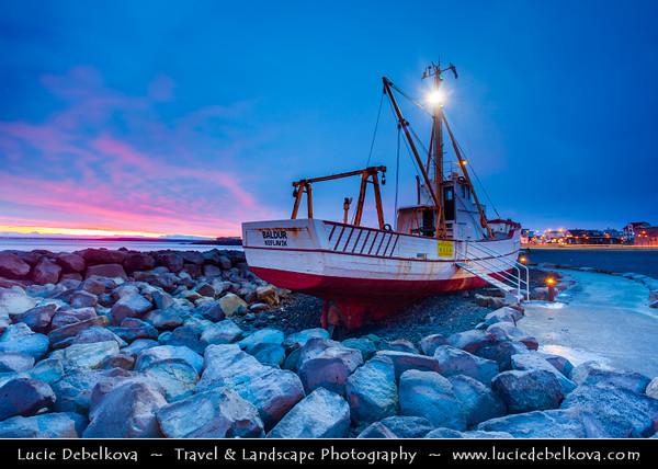 Europe - Iceland - South Western Iceland - Reykjanes Peninsula - Keflavík - Small town on shores of Atlantic Ocean at Dusk - Dawn - Twilight - Blue Hour - Night - Sunrise - Sunset