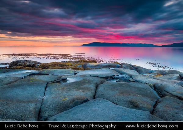Europe - Iceland - Reykjavik - The Capital City - Seltjarnarnes - Volcanic coast captured at summer sunrise at 3AM !