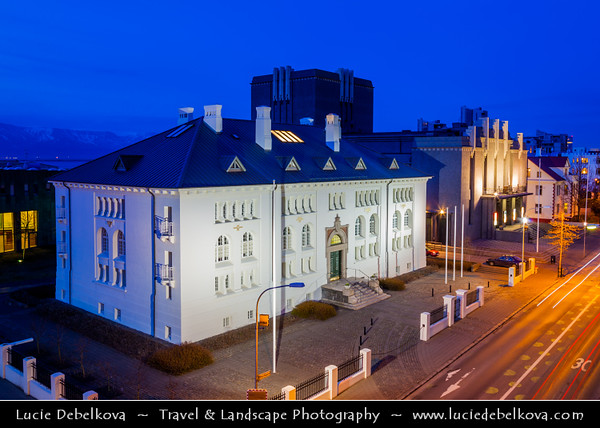 Europe - Iceland - Reykjavik - The Capital City - Safnahúsið - Culture House - Exhibition space and part of National Museum of Iceland at Dusk - Twilight - Blue Hour - Night