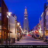 Iceland - Reykjavík - Hallgrimskirkja church - Reykjavik's main landmark - Its tower can be seen from almost everywhere in city - Largest church in Iceland - 73-metre high church tower offers stunning view - Twilight - Dusk - Blue Hour