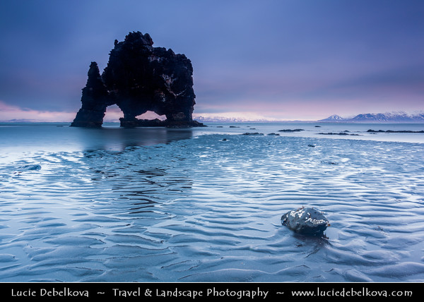 Europe - Iceland - North-West Iceland - Vatnsnes peninsula - Hvítserkur - 15 m high basalt stack, rock with two holes at the base with appearance of a dragon who is drinking or Dinosaur of Iceland