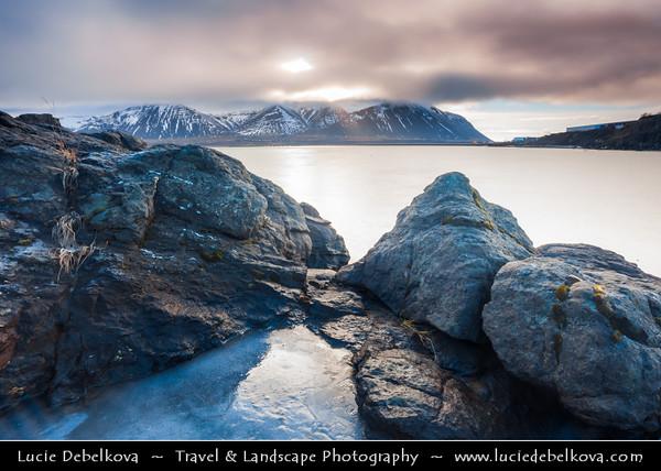 Europe - Iceland - West Coast - Borgarbyggð - Borgarnes - Dramatic Rocky coast around traditional fishing town located on a peninsula at the shore of Borgarfjörður