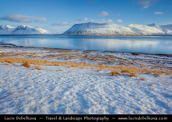 Europe - Iceland - West Iceland - Snæfell Peninsula - Snæfellsnes - Area with dramatic coastline and abundant volcanic features during winter time under fresh snow cover