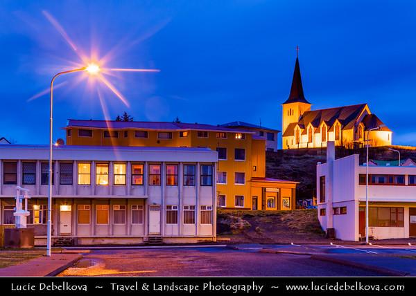 Europe - Iceland - West Coast - Borgarbyggð - Borgarnes - Town located on a peninsula at the shore of Borgarfjörður at Dusk - Twiight - Blue Hour - Night