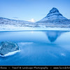 Europe - Iceland - West Iceland - Snæfell Peninsula - Snæfellsnes - Grundarfjörður - Grundarfjordur - Kirkjufell - Church Mountain (463 meters) - Iceland's most iconic pyramid shaped mountain standing isolated along the Atlantic Ocean coast during winter time under fresh snow cover