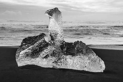 Iceberg sculpture on Diamond Beach