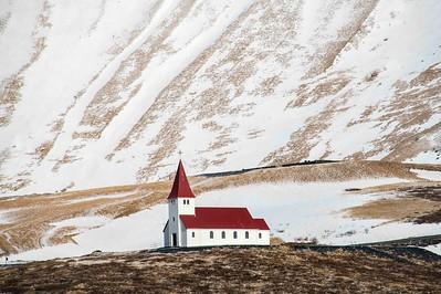 Church on a hill: Vik