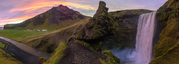 Panoramic of Skógafoss waterfall