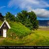 Europe - Iceland - Southern Iceland - Vatnajökull National Park - Vestur Skaftafellssýsla - Núpsstaður - Traditional Turf houses with rocky mountains & majestic Lómagnúpur cliff in background - UNESCO World Heritage