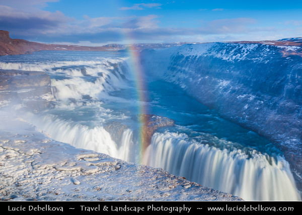 Europe - Iceland - Southern Iceland - Gullfoss Waterfall - 105-foot double-cascade waterfall and one of Iceland's most recognized waterfalls located in the canyon of Hvítá river and one of the most visited attractions on Golden Circle tour route during winter time under fresh snow cover