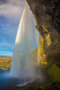 Behind Seljalandsfoss waterfall