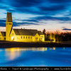 Europe - Iceland - Southern Iceland - Selfoss - Town on the banks of the Ölfusá river and local church at Dusk - Twilight - Blue hour - Night