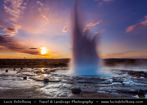 Europe - Iceland - Southern Iceland - Strokkur Geysir - Geysir's little brother and its surrounding geothermal area at sunrise