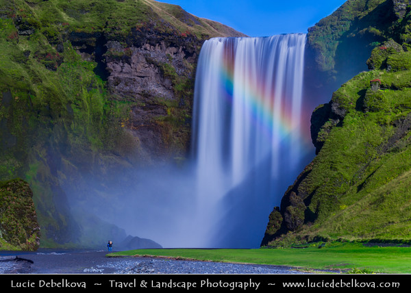 Europe - Iceland - Southern Iceland - Skógafoss - Skogar Waterfall - One of Iceland's most recognized waterfalls situated on the Skógá River and one of the biggest waterfalls in the country with a width of 25 metres (82 feet) & drop of 60 m (200 ft)
