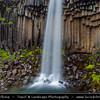 Europe - Iceland - Southern Iceland - Skaftafell National Park - Svartifoss waterfall - Black Fall - Surrounded by dark basalt lava columns